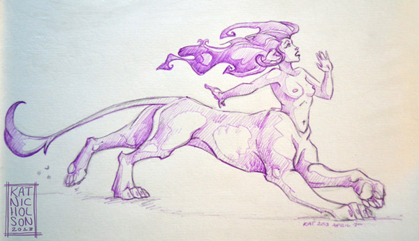 Purple Cat-taur Run by Kat Nicholson
